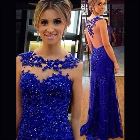 Blue Lace Prom Dresses Long 2019 Sexy Mermaid Jewel Neckline Cap Sleeve Sheer Formal Evening Gowns Cheap Cocktail Party Red Carpet Dress