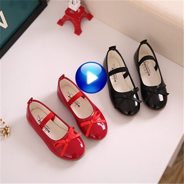 Fashion Girls Shoes Leather Girls Dress Shoes Black Red Soft Children Designer Dance Flats Shoe Size 21-36