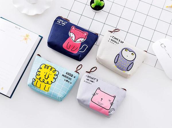 Outdoor Key pouch Canvas Coin Purse Change Pouch Zipper Coin Holder Mini Wallet Bags owl fox lion pattern Women, Kids, Students