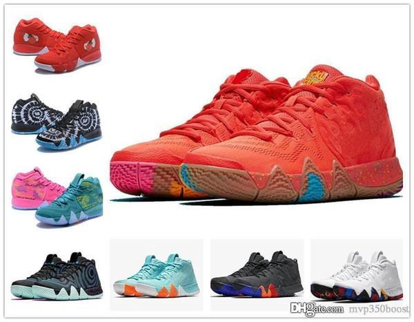 4s Kyrie IV Glücksbringer Männer Basketball Schuhe Hochwertige Irving 4 Konfetti Farbe Grün Designer Trainer Sneakers Kostenloser Versand