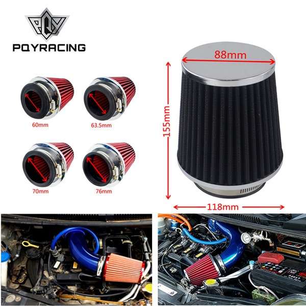 Universal car high flow cold air inlet air intake system mushroom head air filter neck 76mm / 70mm / 63.5mm / 60mm PQY-AIT24