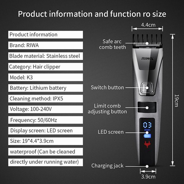 Riwa K3 100-240V LCD Fast Charging Men's Electronic Hair Trimmer Professional Clippers Hair Cutting Machine for Men Kid 47 C19010901