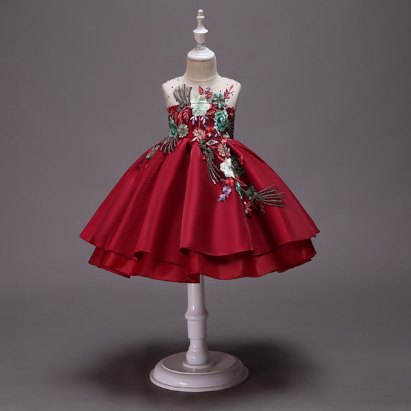 Vestidos bordados de verano para niñas de 3 a 10 años, vestido de tutú para fiesta navideña para niños, ropa de tul para bebés y adolescentes para adolescentes, R1AA806DS-38