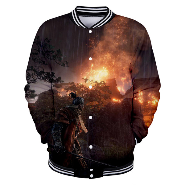 New Arrival Game Sekiro:Shadow Die Twice 3D Print Jacket Male/Female Kpop Harajuku o-neck personality Baseball Jackets