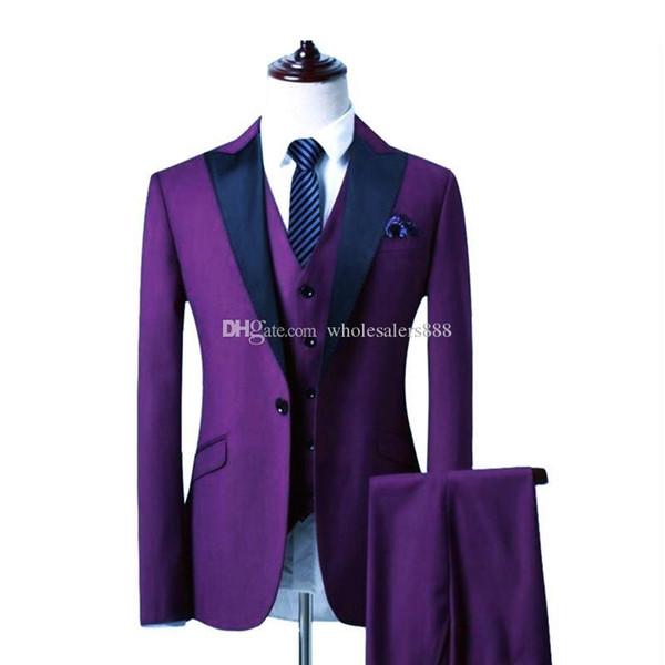 Custom Made Groomsmen Roxo Noivo Smoking Pico Lapela Preta Dos Homens Ternos de Casamento Melhor Homem Noivo (Jaqueta + Calça + Colete) L230