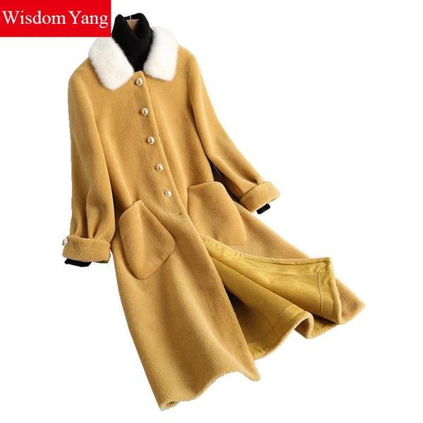Elegant Winter Warm Wool Sheep Shearing Coat Pink Yellow Mink Hair Collar Coats Womens Oversize Long Woolen Overcoat Outerwear
