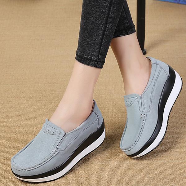 Compre Moda Mujer Pisos Cuñas Mocasines Zapatos Señoras Creepers Mocasines De Cuero Genuino Slip On Plataforma Mocasines A $28.87 Del Tinypari |
