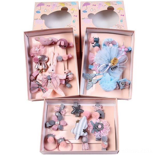 best selling Carter rich accessories cartoon children's bow head tu Er lace hair band rope rabbit ears lace princess hair band hairpin set