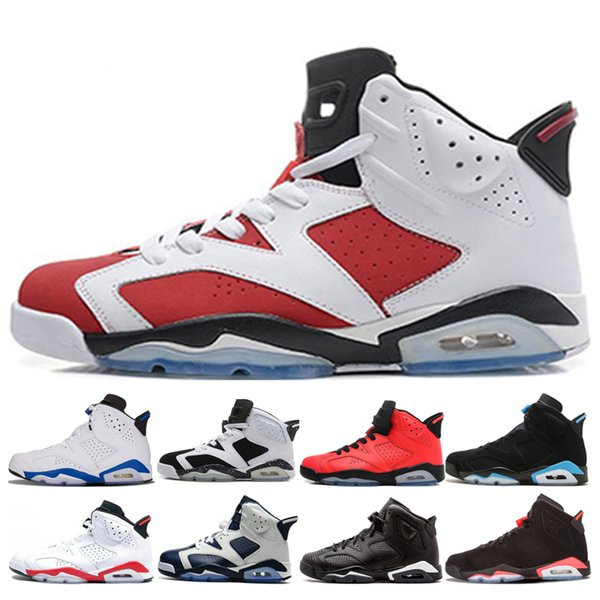 Classic 6 6s men basketball shoes Carmine Olympic unc Black Infrared Angry bull Oreo high sport blue carmine sneakers outdoor sport trainers