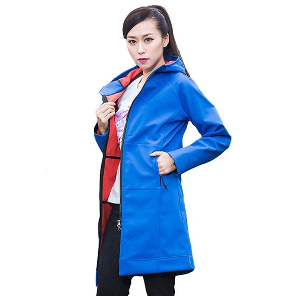 2019 New Brand New Design Windproof and Waterproof Womens SoftShell Hoodies Jackets Coats Outdoor Warm Windbreaker Coats Black Blue S-XXL