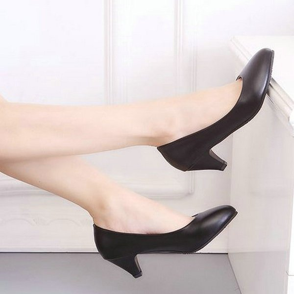 Designer Dress Shoes 2019 New Spring PU Leather Fine Toe Woman Lazy Pumps Fashion Work Dress High Heel Woman Black heel height 3cm 5cm 7cm