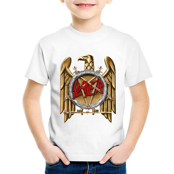 Fashion Print Speed Metal Slayer Children T-shirts Kids Rock Summer Short Sleeve Tees Boys/Girls Casual Tops Baby Clothes,HKP516