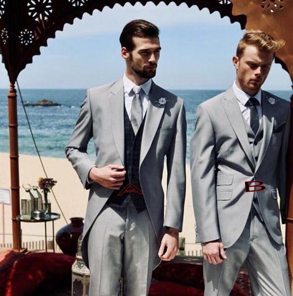 Gray Groom Tuxedos Groomsmen Tailcoat 2 Style Best man Peak Lapel Men's Wedding Suits (Jacket+Pants+Tie+Vest)