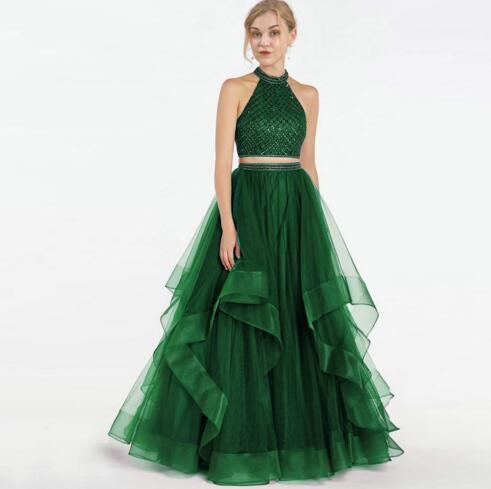 Fashion Emerald Green 2019 Prom Dresses Evening Gowns Two Pieces Tulle  Ruffles Beads Sequins Keyhole Special Occasion Formal Party Dress Plus Size  ...
