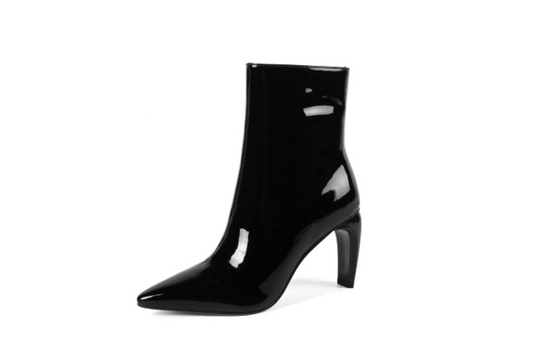 ladies fashion patent Genuine Leather cowskin ankle boots cotton fabrics plain zip high heel covered platform heel adhesive boots 88-638