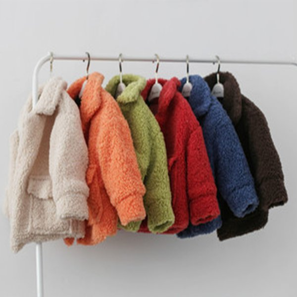 Baby Warming Solid color Thicken Coat Children Lambswool Overcoat Boys Girls Winter Clothes Kids Fashion Standing Collar Jacket