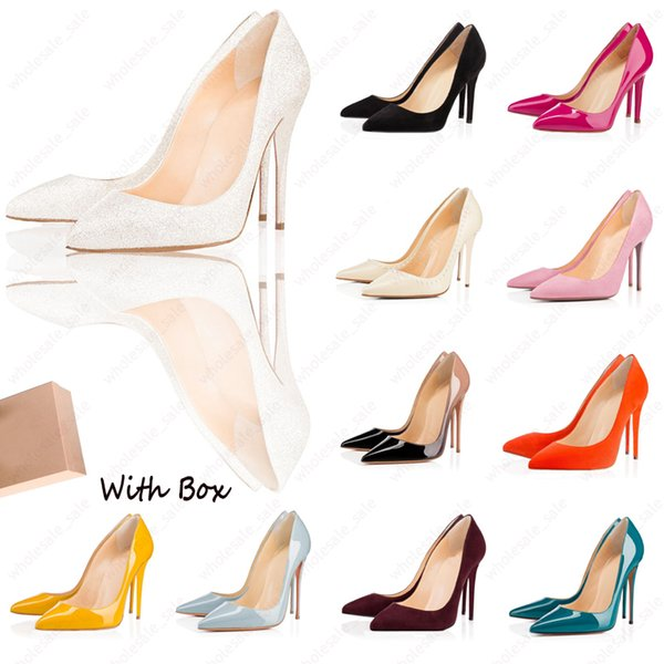 top popular With Box Luxury Designer Women Shoes High Heels Red Bottom so kate style 8cm 10cm 12cm Round Pointed Toes Pumps bottoms Dress Sneakers 2021