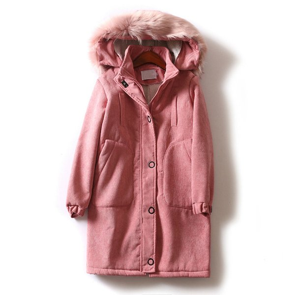 2018 Women Thick Jacket Coat Corduroy Faux Fur Plus Size Women Lambswool Inner Pink Parka 5XL Winter Coat Casaco Feminino