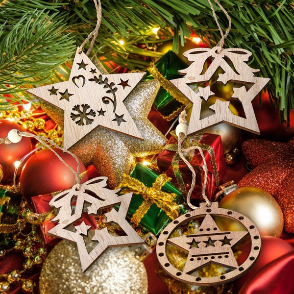 3 Stks Wooden Nordic Vintage DIY Five-pointed Star Christmas Tree Showcase Decoration Pendant Kids Gift Xmas Tree Party Ornament