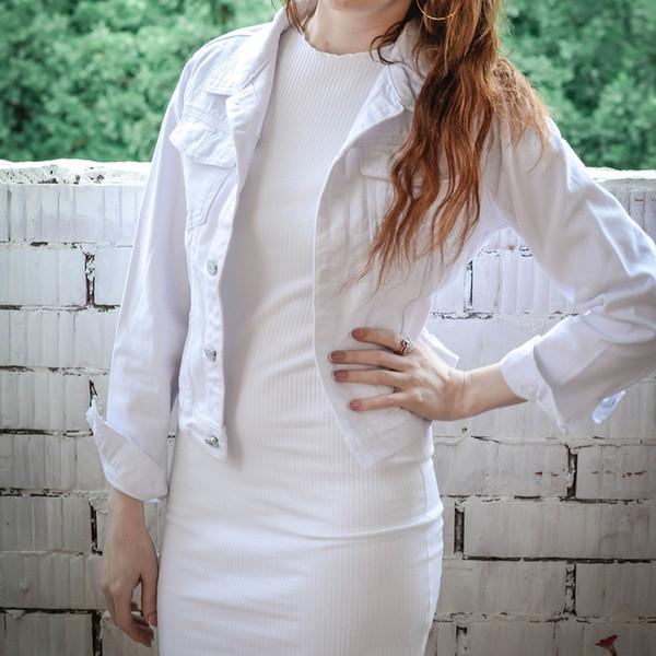 Spring Autumn Women Clothing Cowboy Coat Loose Long Sleeve Short Female Denim Jacket White Black Blue Pink Bomber Jacket Coats T5190612
