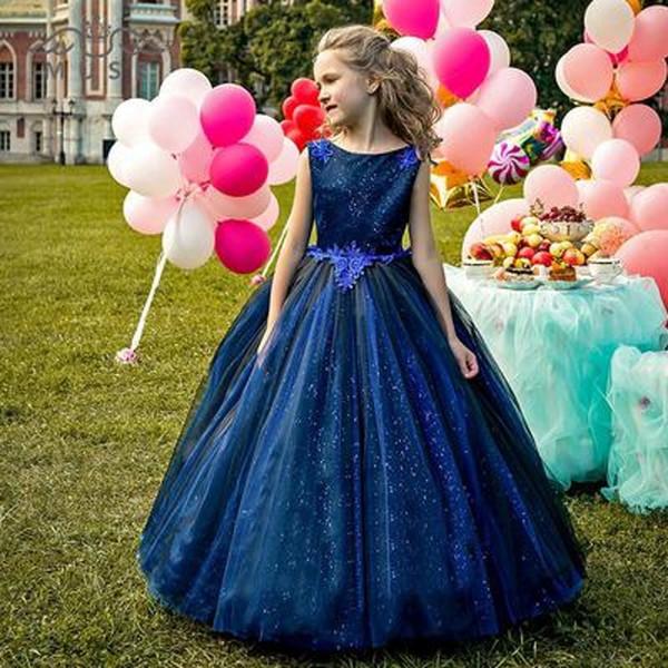 Primavera 2020 ultimo disegno di lusso del vestito dalle ragazze di fiore per matrimoni girocollo Puffy Una linea in rilievo tessuto di pizzo blu Appliqued Ragazze Prom Dresses