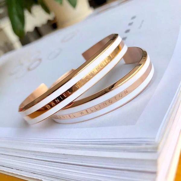 2019 mode Neu kommen Edelstahl DW Manschette Armbänder armreif für frauen männer Design Rose Gold Silber Armbänder Männer Pulsera liebhaber schmuck