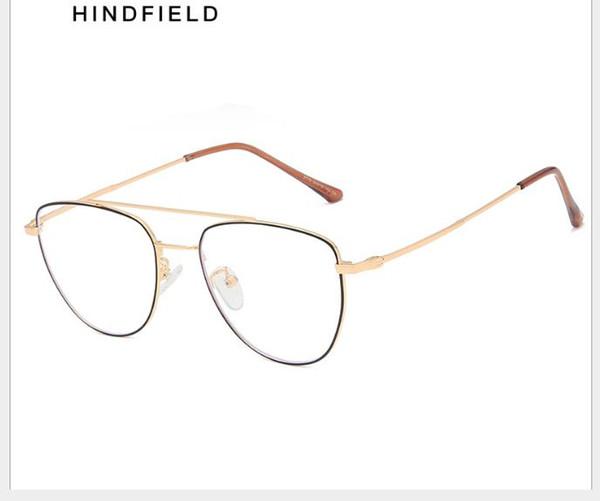 Anti-Blue Metal Óculos Simples Delicado Dot Paint Glass Frame Moda Geral Flat Glasses para Homens e Mulheres