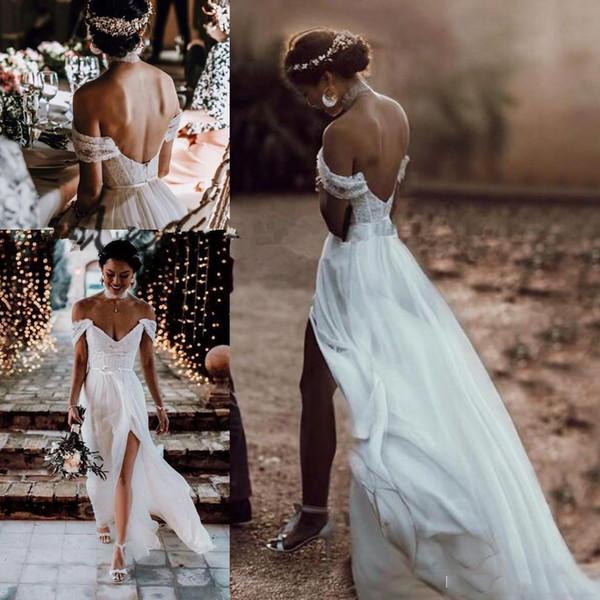 2019 Vintage Off Shoulder Summer Bohemian Wedding Dresses Backless SlitHoliday Chiffon Beach Fairy Lace Bridal Informal Bridal Dress