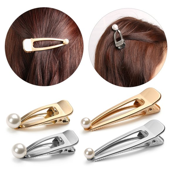 Trendy Women Pearls Metal Hair Pins Gold Silver Color Hollow Duckbill Hair Clip Barrettes Side Clips Styling Tools Beauty