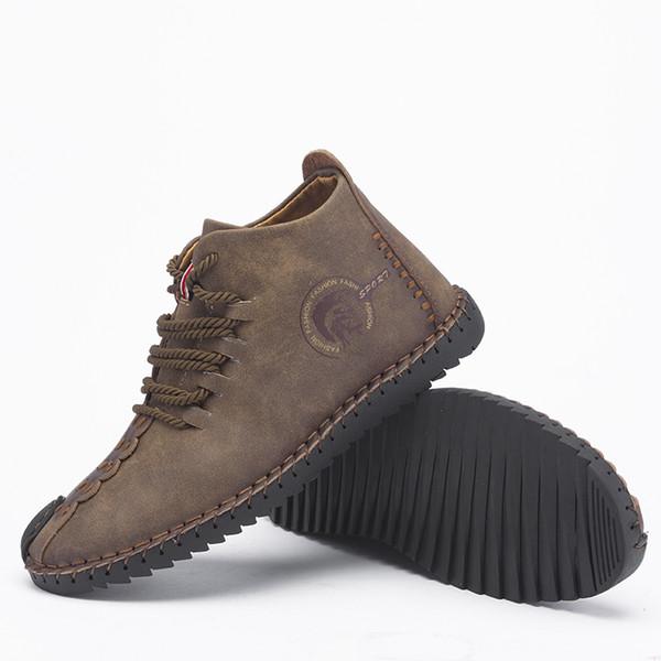 Novos Homens Confortáveis Sapatos de Camurça de Vaca Alta Quantiy Ankle Boots Lado Duplo Zíper dos homens Botas Casuais dos homens Sapatos de Caminhada Preto 48