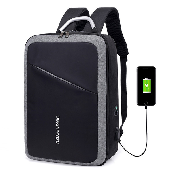 15 15.6 15.4 Inch USB Interface Password Lock Anti-theft Waterproof Nylon Notebook Laptop Backpack Bags Case for Men Women