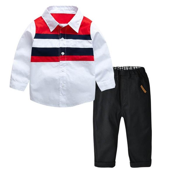 Boy Clothes kids designer clothes boys Clothing Sets long sleeve shirt+Pants trousers Fashion Child Suit Kids Outfits kids clothing A2760