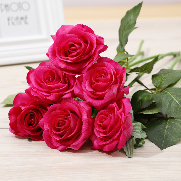Rose Branch Gifts Valentine's Day Wedding Gifts Artificial Flower Branch Cloth Rose Flower for Home Party Bouquet Decoration