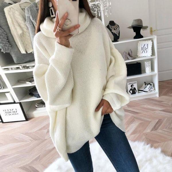 Maglione 2019 Oeak 2019 Maglione lavorato a maglia oversize da donna Pullover collo alto dolcevita femminile Maglione autunno inverno caldo