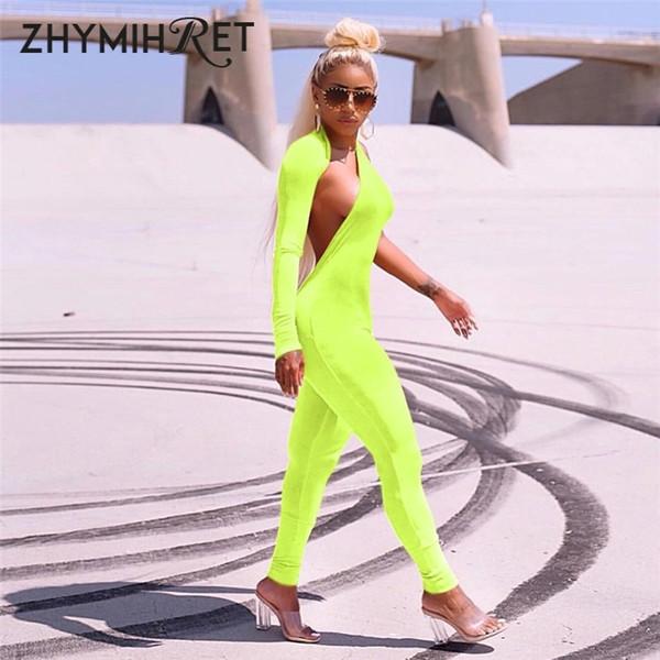 Zhymihret Sonbahar Kış Neon Renk Bir Omuz Halter Tulum Kadın Tulum Sıska Uzun Kollu Backless Tulum Seksi Tulum MX190726