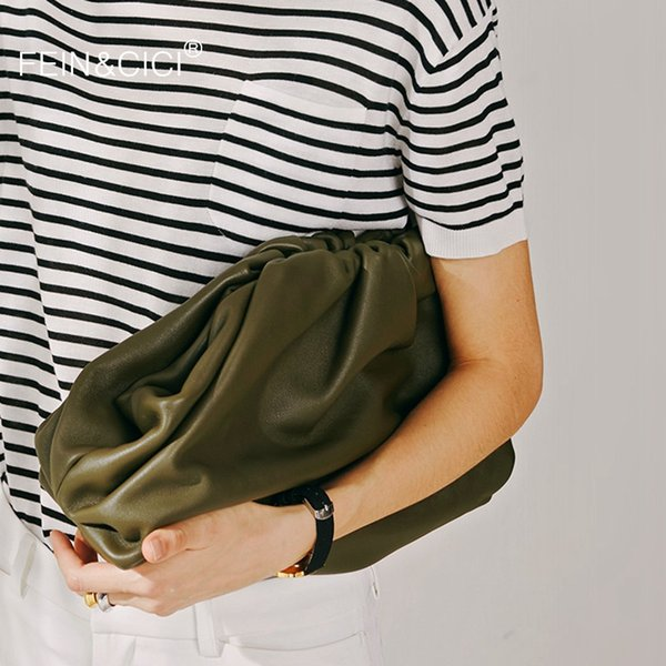 Day clutch Evening party purse bag women large big ruched pillow bag leather pouch handbag 2019 summer white black green