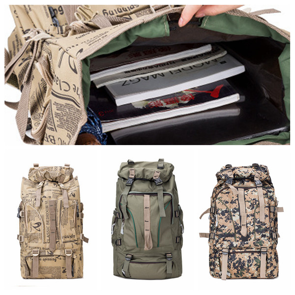 Adult Tactical Knapsack Camo Canvas Polyester Outdoors Backpacks Letters Printed Hiking Camping Backpack 55L Sport Bag ZZA1073