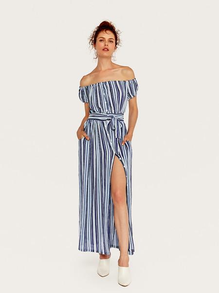 Add Women Vintage Spring Summer Boho Beach Dresses Off Shoulder Sleeve Split Dress Slash Neck Robe Femme wholesale