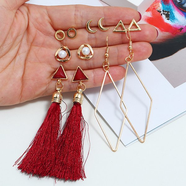diomedes earring women 6pc long earrings tassel pearl metal ladies earrings jewelry wholesale drop shipping may6