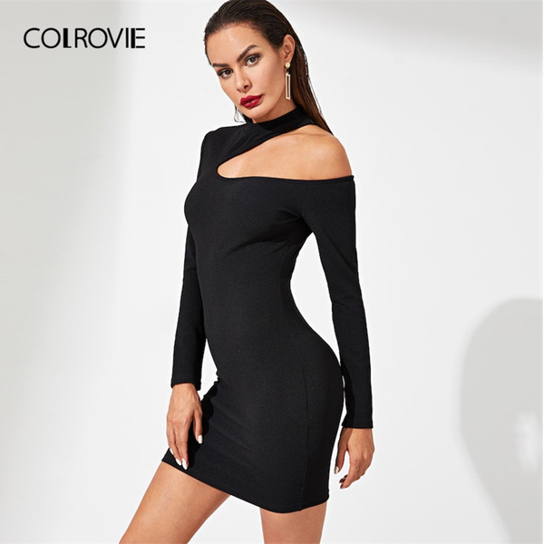 2f651d5441d9 COLROVIE Black Zip Back Asymmetrical Neck Solid Sexy Dress Women 2019  Spring Long Sleeve Nightclub Sheath Party Mini Dress