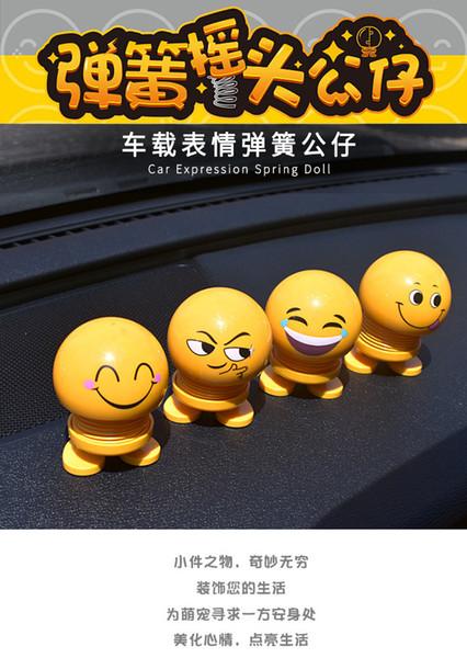Araba İfade bahar bebek araba dashboard iç nod sevimli gülümseme bebek araba dekoratif ifade bahar sallamak kafa yaratıcı oyuncaklar