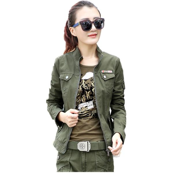 Ropa de camuflaje militar Cremallera femenina Chaquetas de bombardero verde militar de manga larga Tallas grandes 5xl 6xl Abrigo casual para mujer Y190827