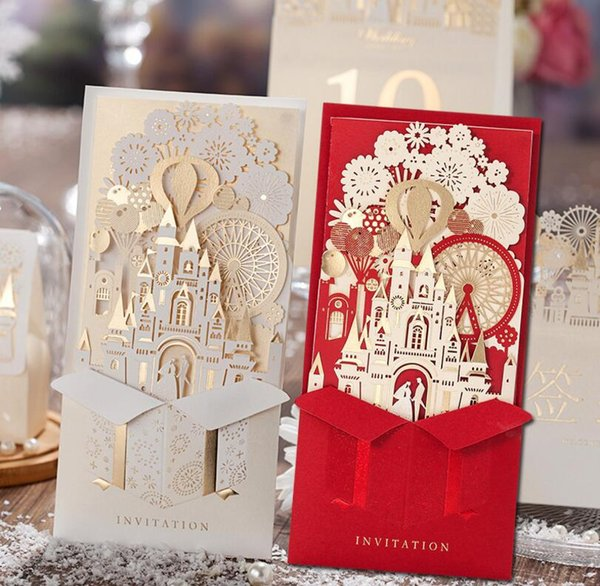 Unique 3d Laser Castle Wedding Invitations Cards Laser Cut 2016 Cheap Personalized Wedding Invitation Card Designs Greeting Cards Online Greeting