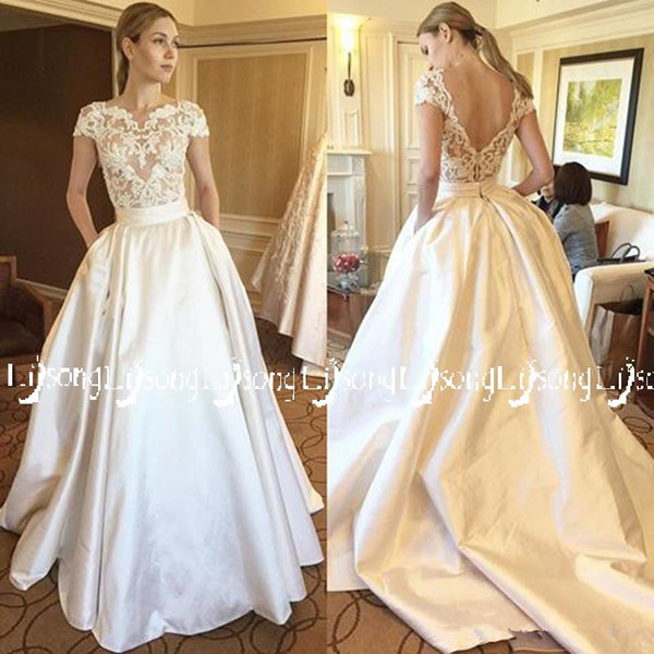 Wedding Dress Lace Top and Satin Bottom Skirt with Pockets Vestido de Casamento Bridal Maxi Formal Gowns White Brides Sets Long