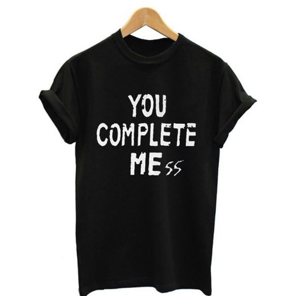 Frauen-T-Shirt 2018 Sie vervollständigen mich Grafik-T-Shirts beiläufige Kurzarm-Brief-Druck Frauen übersteigt Kpop Kleidung