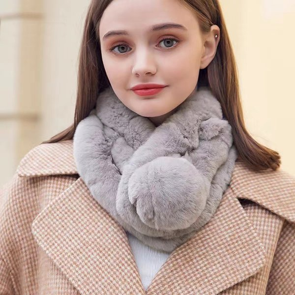 winter women's otter fur scarf fashion warm and soft comfortable female fur collar luxury coat scarves, Blue;gray