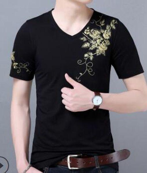 Erkek V yaka tişört ince pamuklu kısa kollu tişört 02