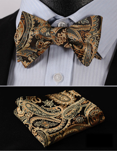 Floral 100%Silk Jacquard Woven Men bow tie, Wedding Butterfly Self Bow Tie Pocket Square Handkerchief BowTie Set Hanky Suit #RF1