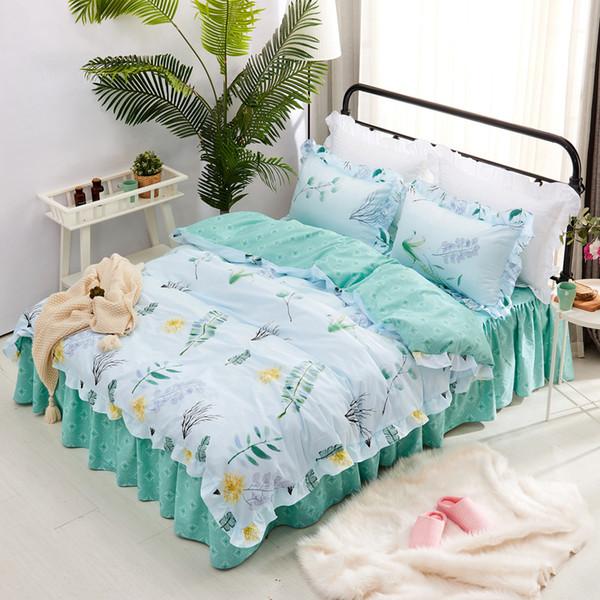 100% Baumwolle Blumenblätter Frische Spitze Twin Voll Königin König Bettbezug Druck Doppelbettbezug für Erwachsene Kinder # 643