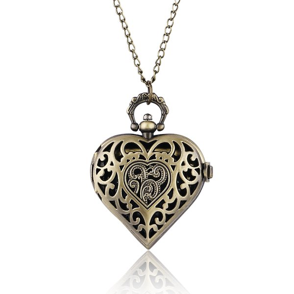 Pocket Fob Watches Beautiful Heart Shape Pendant Perfect Gifts for Woman Lady Girl Girlfriend Wife Necklace Quartz Pocket Watch Nurse Wat...